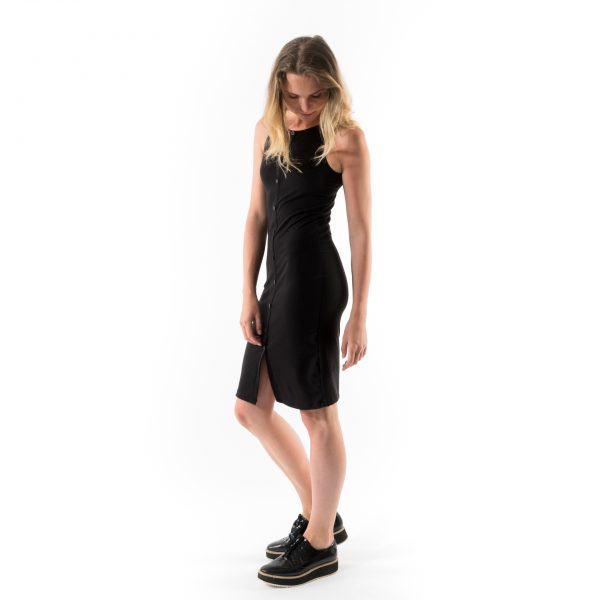 Kim Sassen Clothing Anna Dress Black Front Side Leglift
