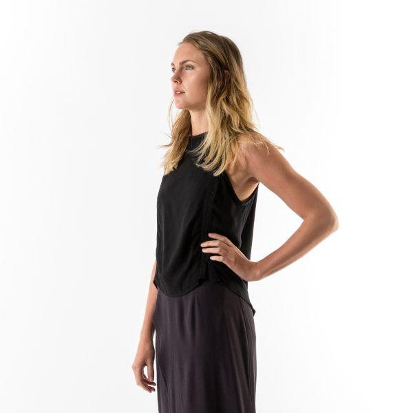 Kim Sassen Clothing Binding Top Black Front Side Close