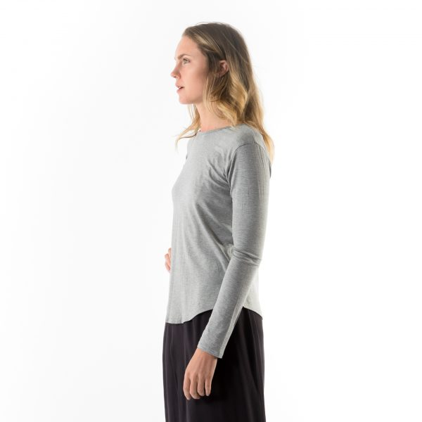 Kim Sassen Clothing Long Sleeve Back to Front T-Shirt Grey Front Side Close