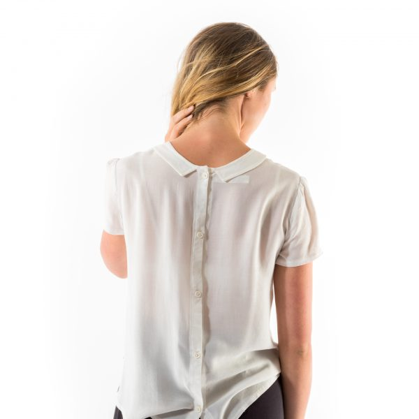 Kim Sassen Clothing Pintuck Blouse White Back Close
