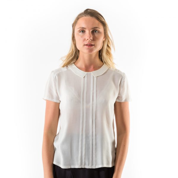 Kim Sassen Clothing Pintuck Blouse White Front Close