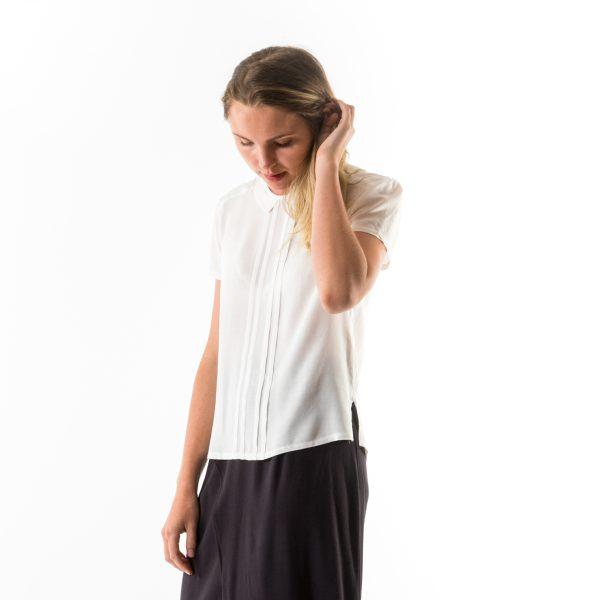 Kim Sassen Clothing Pintuck Blouse White Front Side Close