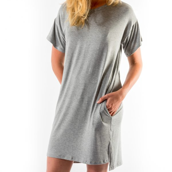 Kim Sassen Clothing T-Shirt Dress Grey Front Mid Close