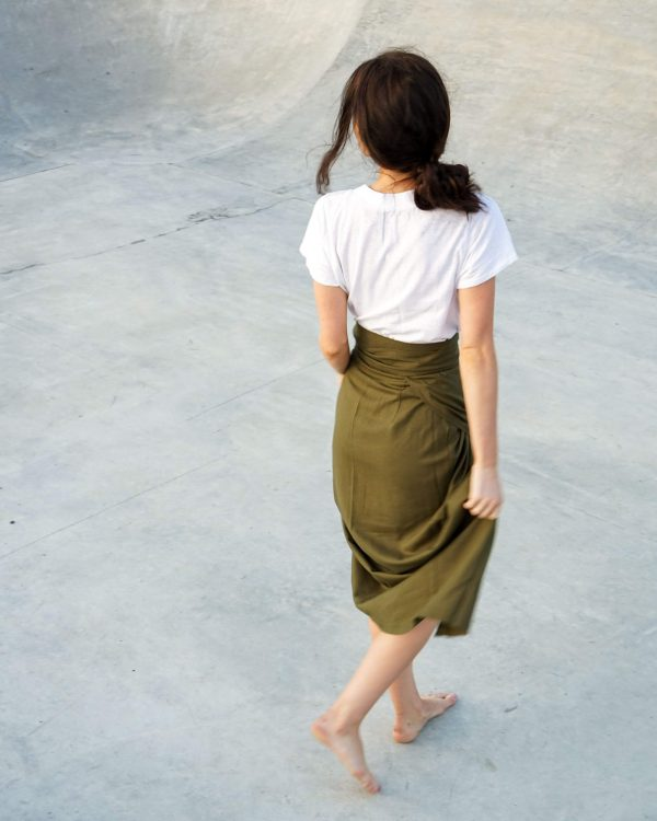 Kim Sassen Clothing Wrap Skirt Olive Back