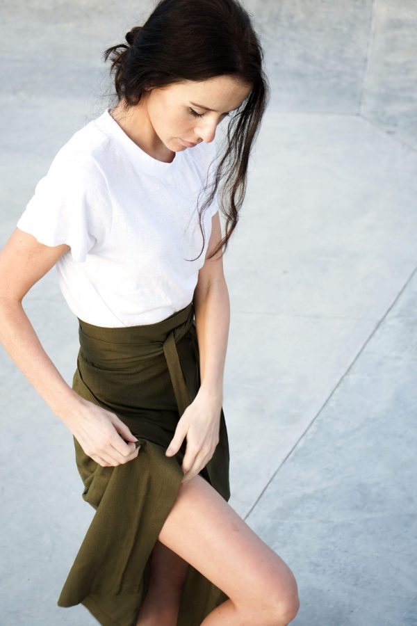 Kim Sassen Clothing Wrap Skirt Olive Front Leg
