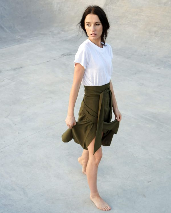 Kim Sassen Clothing Wrap Skirt Olive Front